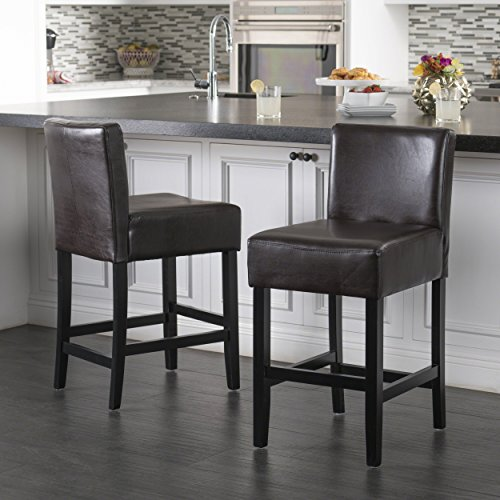 Lowry Bonded Leather Stools | Set of 2 Robust Counter Stools | Perfect for Kitchen Counter Dining or Lounging at the Bar | Adds a Touch of Sophistication to your Home (Bonded Leather Stool)