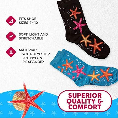 Foozys Women's Crew Socks | Tropical Island Oasis Themed Novelty Socks | 2 Pair
