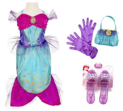 Disney Princess Ariel Little Mermaid Enchanted Evening Costume Set - Enchanted Evening Dress Size 4-6X, Purse, Gloves, and Sparkle ()