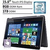 Acer Aspire R5 2-in-1 Convertible 15.6 FHD IPS Touchscreen Laptop(2017 Model), Intel Core i5-7200U 2.5GHz, 8GB DDR4 Memory, 1TB HDD, Backlit Keyboard, HDMI, Bluetooth, WiFi, Windows 10