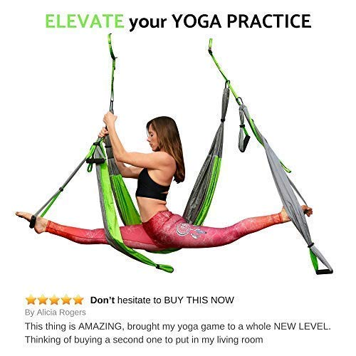 Aerial Yoga Swing - Gym Strength Antigravity Yoga Hammock - Inversion Trapeze Sling Equipment with Two Extender Hanging Straps - Blue Pink Grey Swings & Beginner Instructions (Green and Platinum) by Yogatail (Image #6)