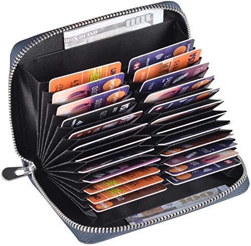 Easyoulife Genuine Leather Credit Card Holder Case RFID Travel Passport Wallet (Dark Blue)