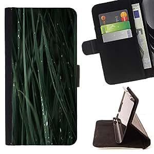 BullDog Case - FOR/Samsung Galaxy S3 Mini I8190Samsung Galaxy S3 Mini I8190 / - / green grass blade nature dew drop /- Monedero de cuero de la PU Llevar cubierta de la caja con el ID Credit Card Slots Flip funda de cuer