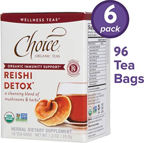 Choice Organic Teas Wellness Teas, 6 Boxes of 16 (96 Tea Bags), Reishi Detox, Caffeine Free