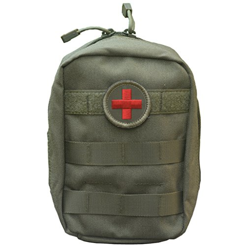SpaceAuto Compact Tactical MOLLE EMT Medical First Aid Utility Pouch OD Green