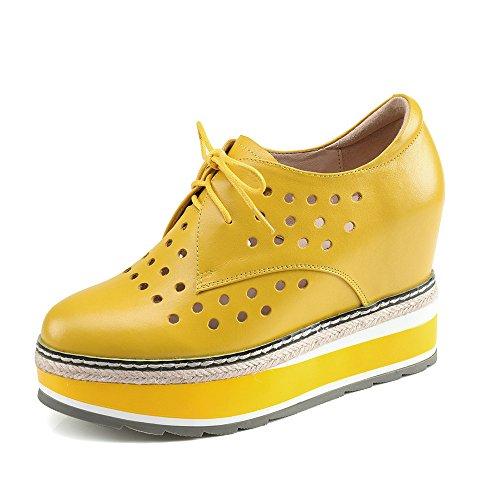 Nine Seven Cuero Puntera Redonda Zapatos de cordones de Tacón de Cuña con Hueco para Mujer amarillo