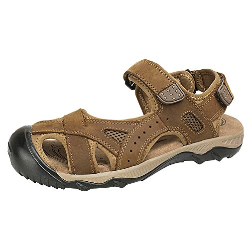 rismart Mens Closed Toe Hook-and-Loop Outdoor Summer Leather Sport Strap Sandals Shoes Tan