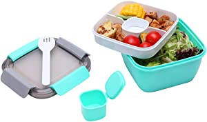 G.a HOMEFAVOR Salad BPA Free Lunch Container with Seal Ring, 3 - Compartment Tray for Salad Toppings and Snacks, Sauce Container for Dressings, and Built - In Reusable Fork, Green