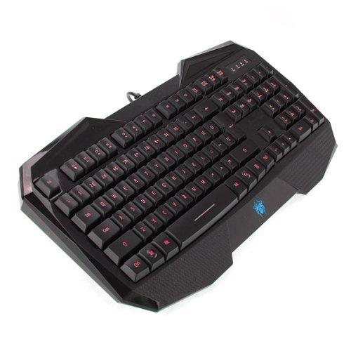 LED Illuminated Ergonomic USB Multimedia Backlight Backlit Gaming Keyboard (New Red Backlight)