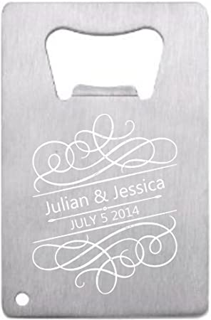 Lazer Designs Customized Wedding Favor Credit Card Opener Personalized For Guests Stainless Filigree 24 pieces