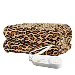 Biddeford 4441-907484-791 Electric Heated Comfort Knit Throw, 50-Inch by 62-Inch, Cheetah Print