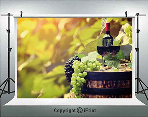 Wine Photography Backdrops Agriculture Country Theme Natural Landscape Product Alcoholic Drink Fruit Decorative,Birthday Party Background Customized Microfiber Photo Studio Props,7x5ft,Light Green Bla