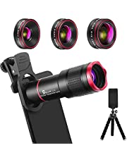 Phone Camera Lens Kit 9 in 1: 22X Telephoto Lens, 235° Fisheye Lens, 0.62X Wide Angle Lens & 25X Macro Lens, Compatible with iPhone 11 10 8 7 6 6s Plus X XS XR Samsung