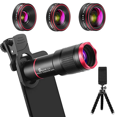 Selvim Phone Camera Lens Phone Lens for iPhone Samsung Galaxy Android, 22X Telephoto Lens, 235° Fisheye Lens, 4K HD 0.62X Super Wide Angle Lens and 25X Macro Lens, Work as Telescope with Tripod