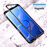 SHOPKART Ultra Slim Magnetic Cover Metal Frame & Tempered Glass Back Full Protection for Samsung S9 Plus (Black)