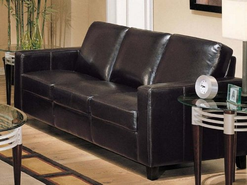 Leather Bycast Espresso (Sofa Couch Contemporary Style Espresso Bycast Leather)