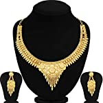 Sukkhi Classic 24 Carat Gold Plated Wedding Jewellery Choker Necklace Set for Women (N73713)