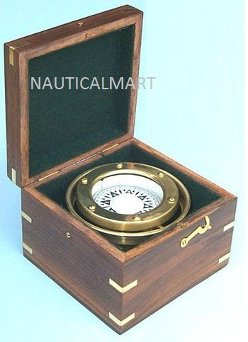 NAUTICALMART R.M.S. Titanic, White Star Line Brass Nautical Gimbaled Boxed Compass