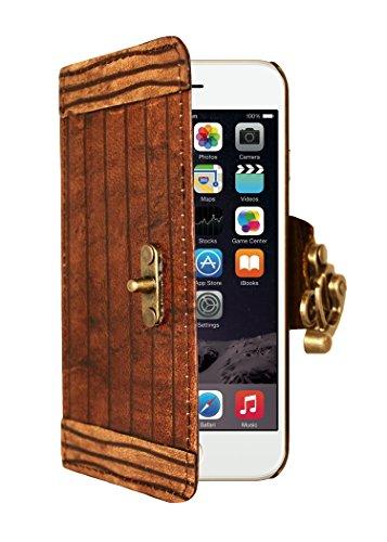 """A Little Present """", handgemacht, Vintage-Stil, Gravur"""" Line Leder-Schutzhülle, mit Schloss für iPhone 6 Plus, braun"""