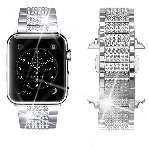 Dassions Band for Apple Watch Diamond Band, Rhinestone Luxury Diamond Stainless Steel Replacement Bands for Apple Watch 38mm 40mm Nike+ Series 4 Series 3 Series 2 Series 1 Edition (Silver, 38/40mm) ()