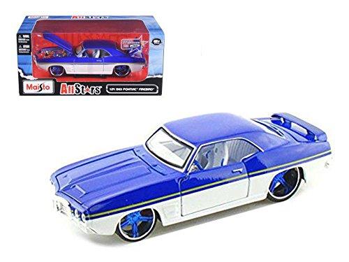 "1969 Pontiac Firebird Blue / White \All Stars\"" 1/24 Diecast Model Car by Maisto"""