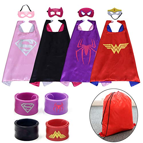 Dress up Costume Girls Superhero Capes and Mask Set 4 Charaters with Drawstring Backpack and Matching Shaped Rubber Wristbands for Kids, Birthday Party Children ()