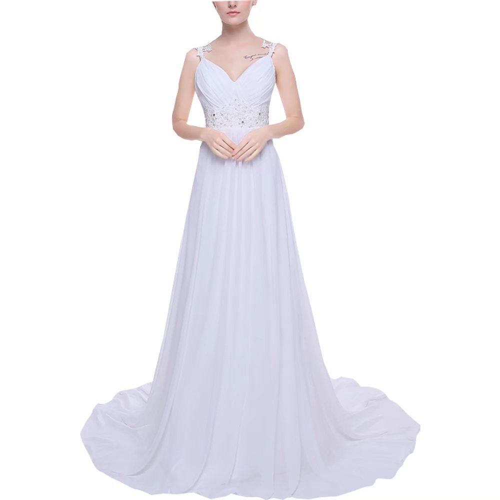 Pandorawedding Women's Fine Straps Wedding Dresses Fitted Waist Bridal Dresses Chiffon Mopping Prom Dresses Frenulum Elegent Wedding Gowns White,24