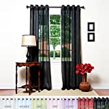 Cheap Best Home Fashion Crushed Voile Sheer Curtains – Antique Bronze Grommet Top – Black – 52″ W x 108″ L – (Set of 2 Panels)