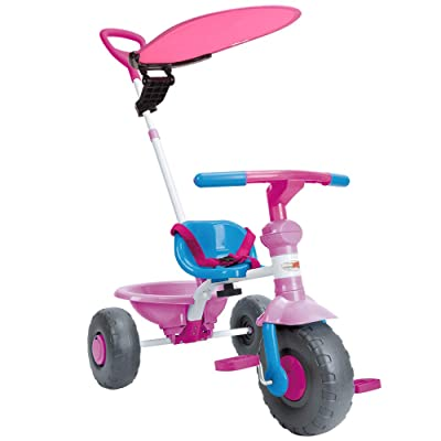 ChromeWheels 2 in 1 Kids Tricycle, Steer Stroller Trike for 1-3 Years Old, Baby Bike with Canopy and Push Handle, Color Pink : Sports & Outdoors