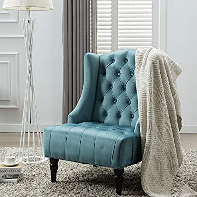 Altrobene Modern Velvet Accent Chair, Living Room/Bedroom/Home Office Reception Chiar, Tall Button Tufted Wingback, Extra Wide Seat, Teal - Modern accent chair features elegant Nailhead-tufted Design Sturdy hardwood construction as well as wooden legs allows 330lbs weight capacity Expertly premium velvet fabric upholstery, generous high-density foam padding - living-room-furniture, living-room, accent-chairs - 51yFpgiPOEL. SS400  -