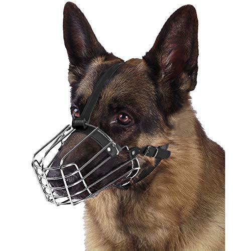 BRONZEDOG Dog Muzzle German Shepherd Wire Basket Metal Mask Leather Adjustable Medium Large Pets L