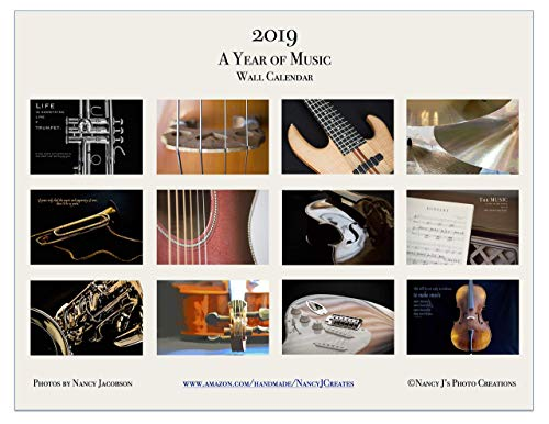 (2019 A Year of Music Wall Calendar Fine Art Musical Instrument Photography Gift for Musician Twelve Monthly 11x8.5