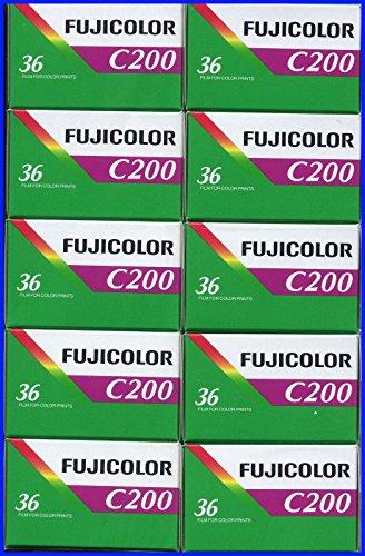 10 Rolls Fujifilm Fujicolor C200 200 ISO 36 exp 35mm Color Negative Film (Pack of 10) (35mm Film Pack)