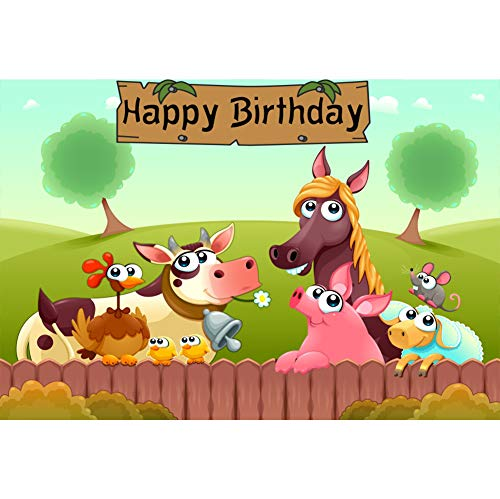 (Laeacco 9x6ft Happy Birthday Backdrop Cartoon Poultry Vinyl Photography Background Animals Wooden Brand Horse Dairy Cow Pig Children Boys Family Party Banner Decor Portrait Shoot Photo Props)