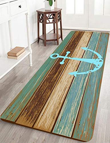 Bathroom Rugs, Kitchen Rug Non-Slip Soft Absorbent Bath Mats with Nautical Anchor Flannel for Bathroom Kitchen and Hallway 24 inches X 71 inches Turquoise/Brown (Turquoise Rugs Kitchen)