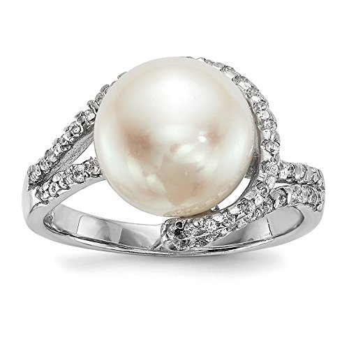 925 Sterling Silver Rh 11mm White Button Freshwater Cultured Pearl Cubic Zirconia Cz Band Ring Size 7.00 Fine Jewelry Gifts For Women For Her ()