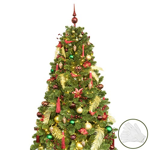 KI Store 6ft Artificial Christmas Tree with Ornaments and Lights Classic Christmas Decorations Including 6 Feet Full Tree, 107pcs Ornaments, 2 pcs 39ft USB Mini LED String Lights (Ready Christmas All Decorated Trees)