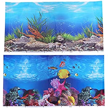POPETPOP Aquarium Background Sticker,3D Double-Sided Adhesive Wallpaper Fish Tank Decorative Pictures Underwater Backdrop Image Decor (52x30cm)