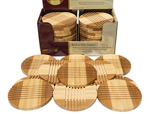 PACK of 12, Picnic Time Bamboo Coasters, Entertaining Tabletop Wine Coasters and Hot and/or Cold Beverage Coasters