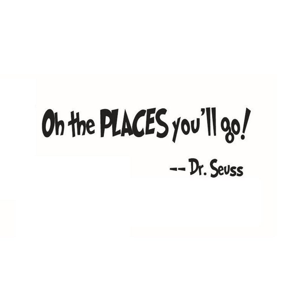 Adesivi Murali Frase oh The Places You'll Go Stickers Neri Frasi Scritte Muri in Camera da Letto Dormitorio e Soggiorno Decorazione Amovibile Art Parete 58 * 15cm CDKJ