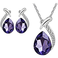 Clearance Deal! Hot Sale! Necklace, Fitfulvan 2018 Women Crystal Pendant Silver Plated Chain Necklace Stud Earring Jewelry Set Pendant Necklace Gifts Jewelry (Purple)