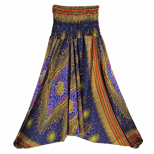 Langmotai Yogahosen meine Damen Bequeme Yoga Strand Baggy Gypsy Frauen Pluderhosen Hose Indian Summer Lose Yoga Hose Eine Größe, Ha 0012902, Eine Größe