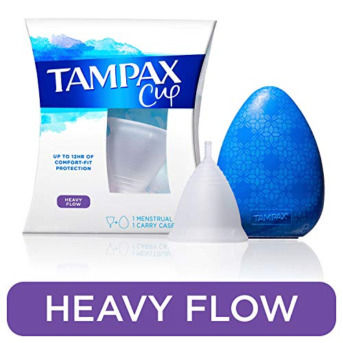 Tampax Menstrual Cup, Heavy Flow, Tampon Alternative, Reusable, 12 Hours of Flexible Comfort-fit Protection, with Free Always Thin Liners (Best Menstrual Cup For Heavy Flow)