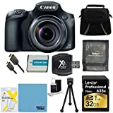 Canon PowerShot SX60 HS Digital Camera 32GB Ultimate Bundle Includes Camera, 32GB Professional 633x SDHC Class 10 UHS-I/U3 Memory Card Up to 95 Mb/s, Gadget Bag, NB-10L Battery, Memory Card Wallet, SD USB Card Reader, Mini Tripod, Mini-HDMI to HDMI A/V Cable, LCD Screen Protectors, and Lens Cleaning Kit