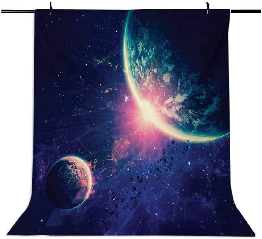 Outer Space Theme Planet Earth Mars in Space Discovery of Universe Astronomy Art Background for Baby Shower Birthday Wedding Bridal Shower Party Decoration Photo Studio 8x10 FT Photography Backdrop