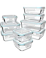 Glass Food Storage Containers with Lids - Glass Containers with Lids for Food - Reusable Bento Box Glass Lunch Containers with Locking Lids - Glass Meal Prep Containers - BPA Free & FDA Approved(9 Pack)