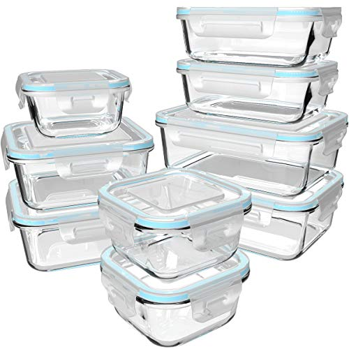 18 Piece Glass Food Storage Containers with Lids, Glass Meal Prep Containers, Glass Containers for Food Storage with Lids, BPA Free & FDA Approved & Leak Proof (9 lids & 9 Containers) (Snapware Pyrex 18 Piece Glass Storage Set)
