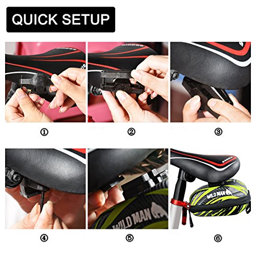 Strap on Bike Bag Seat Pack Small Cycling Saddle Bag Waterproof Shell Bicycle Pack Bag for Mountain Bike with Relfective Stripe