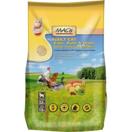MACs Cat Adult Ente, Pute & Huhn 1,5 kg, Katzenfutter Trockenfutter 100 % Getreidefrei