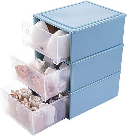 Storage Box Cajón de plástico Grande de 3 cajones, Divisor Caja de Almacenamiento -Calcetines,Juguetes/Home: Amazon.es: Hogar